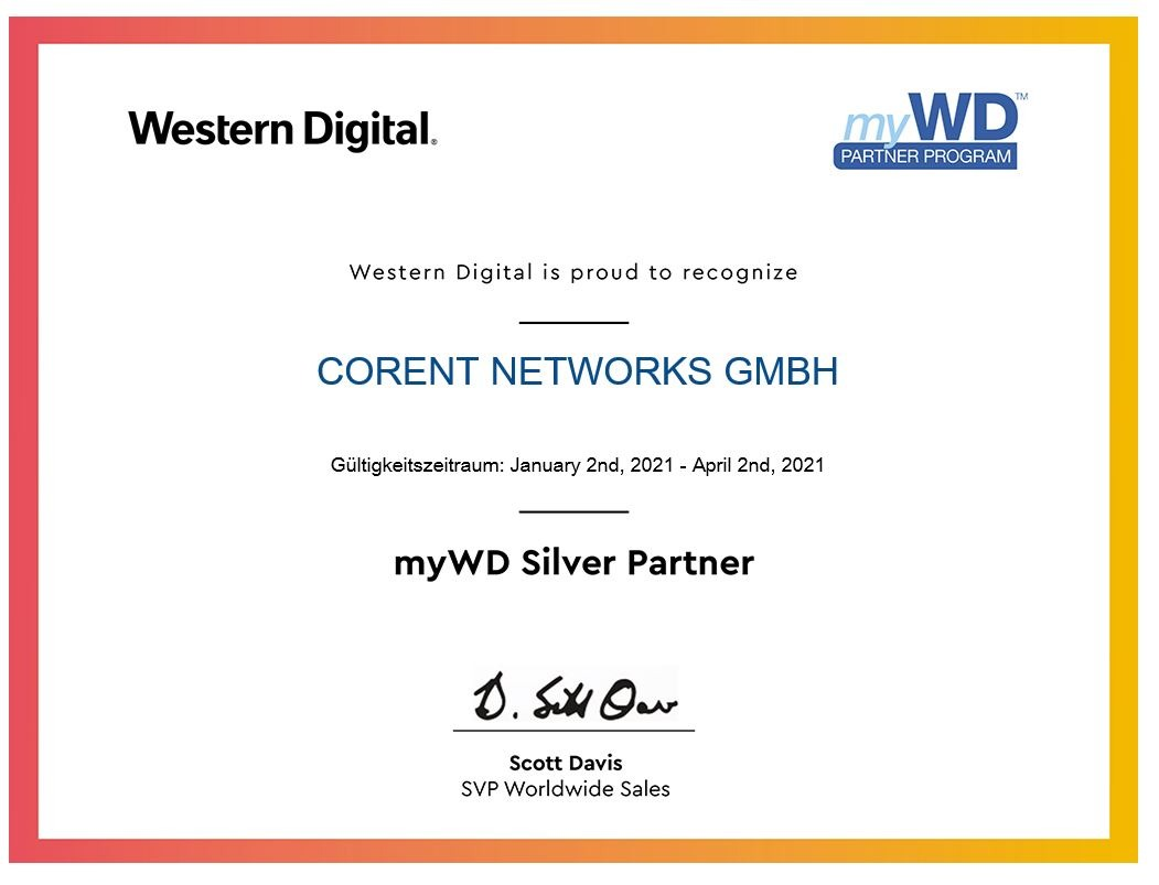 Corent networks ist myWD SILVER Partner!